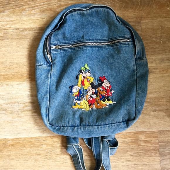 cd923538e8 Disney Handbags - VTG 90 s Disney Embroidered Denim Backpack